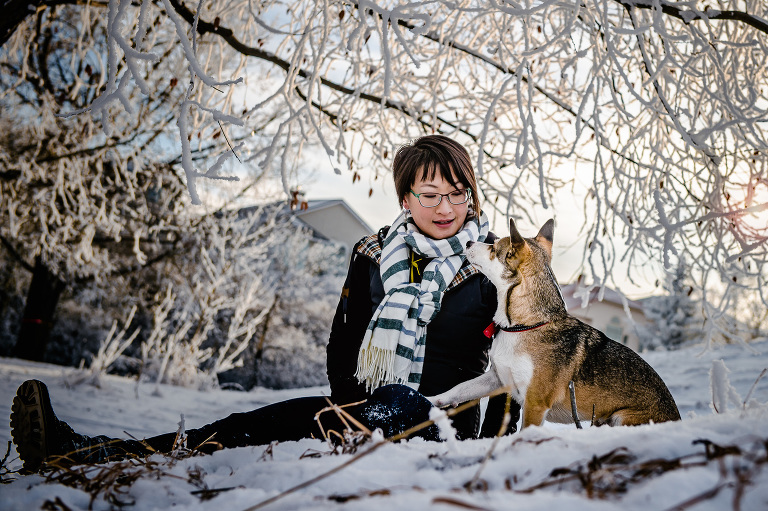 Calgary winter pet photography session